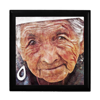 Old Woman cool watercolor portrait painting Jewelry Box