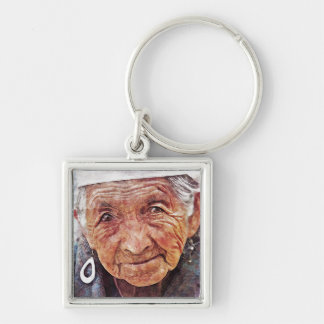Old Woman cool watercolor portrait painting Keychain