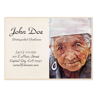 Old Woman cool watercolor portrait painting Large Business Card