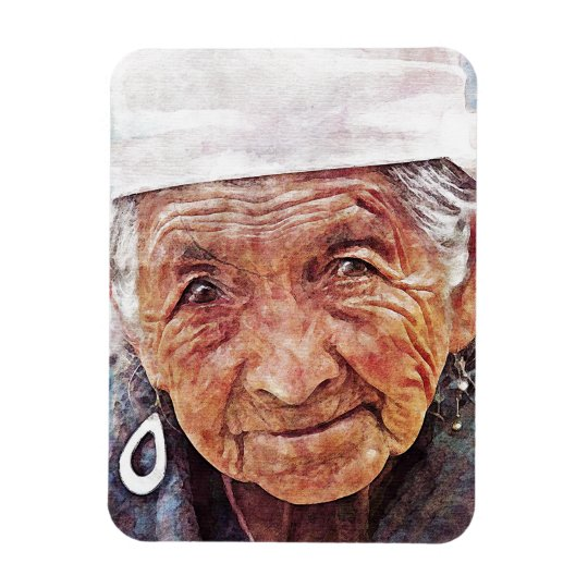Old Woman cool watercolor portrait painting Magnet