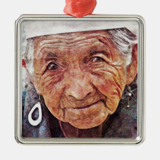 Old Woman cool watercolor portrait painting Metal Ornament