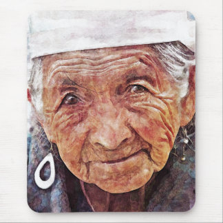 Old Woman cool watercolor portrait painting Mouse Pads
