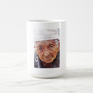 Old Woman cool watercolor portrait painting Mug
