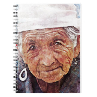 Old Woman cool watercolor portrait painting Notebook