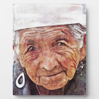 Old Woman cool watercolor portrait painting Display Plaques