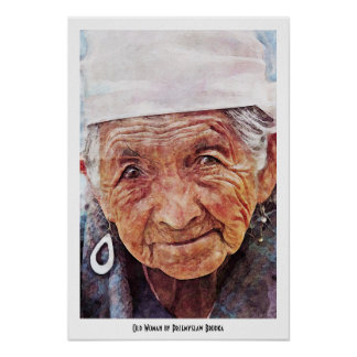 Old Woman cool watercolor portrait painting Print