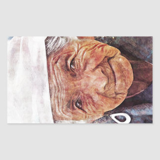 Old Woman cool watercolor portrait painting Rectangular Sticker