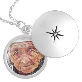 Old Woman cool watercolor portrait painting Round Locket Necklace
