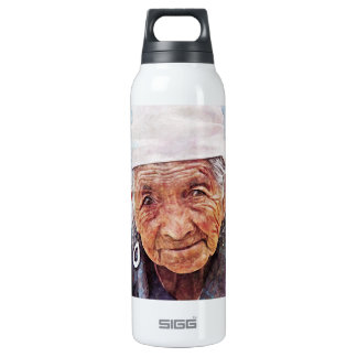 Old Woman cool watercolor portrait painting SIGG Thermo 0.5L Insulated Bottle