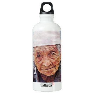 Old Woman cool watercolor portrait painting SIGG Traveler 0.6L Water Bottle