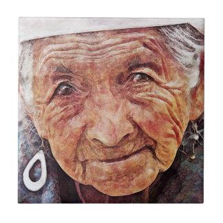 Old Woman cool watercolor portrait painting Ceramic Tile