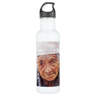 Old Woman cool watercolor portrait painting Water Bottle