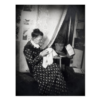 Old Woman Embroidering Vintage Postcard