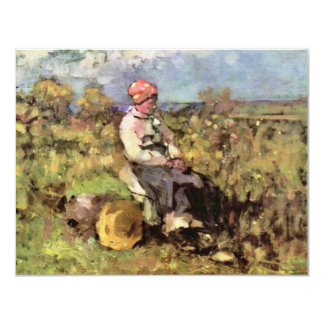 Old Woman From Dispenser By Grigorescu Nicolae 4.25x5.5 Paper Invitation Card