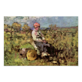 Old Woman From Dispenser By Grigorescu Nicolae Poster