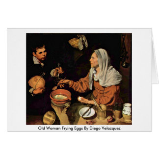 Old Woman Frying Eggs By Diego Velazquez Cards