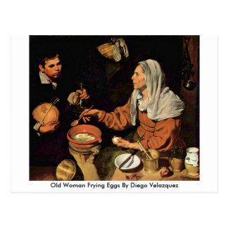 Old Woman Frying Eggs By Diego Velazquez Postcard