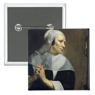 Old Woman Praying 2 Inch Square Button