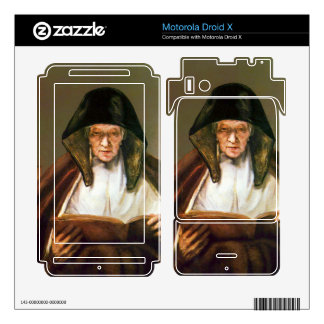 Old woman reading by Rembrandt Motorola Droid X Skin
