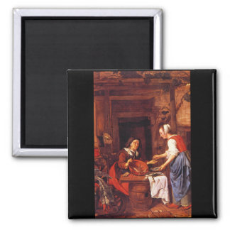 Old Woman Selling Fish'_Dutch Masters 2 Inch Square Magnet