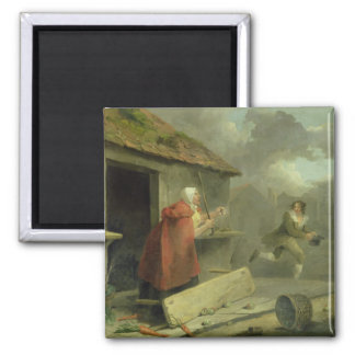 Old Woman Waving a Stick at a Boy 1793 oil on ca Magnets