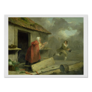 Old Woman Waving a Stick at a Boy, 1793 (oil on ca Poster