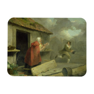 Old Woman Waving a Stick at a Boy 1793 oil on ca Flexible Magnets