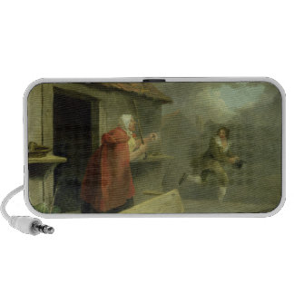 Old Woman Waving a Stick at a Boy, 1793 (oil on ca Travel Speakers