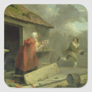 Old Woman Waving a Stick at a Boy, 1793 (oil on ca Square Sticker