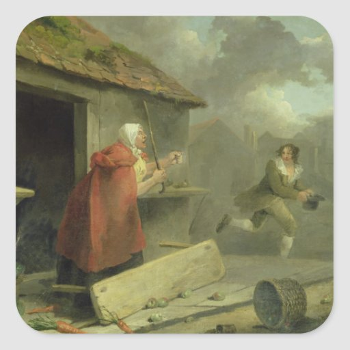 Old Woman Waving a Stick at a Boy, 1793 (oil on ca Sticker