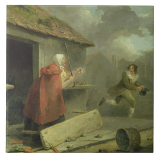 Old Woman Waving a Stick at a Boy, 1793 (oil on ca Tile