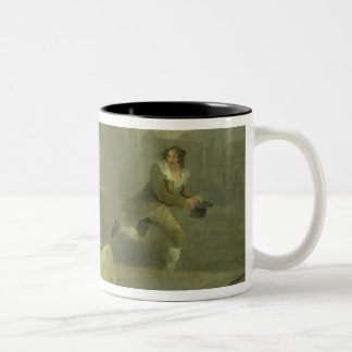 Old Woman Waving a Stick at a Boy, 1793 (oil on ca Two-Tone Coffee Mug
