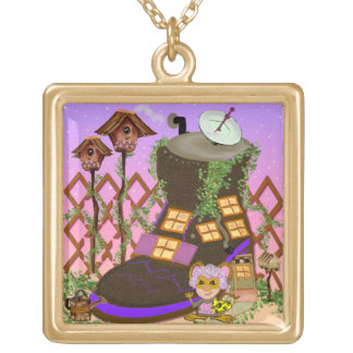 Old Woman Who Lived in a Shoe Square Pendant Necklace