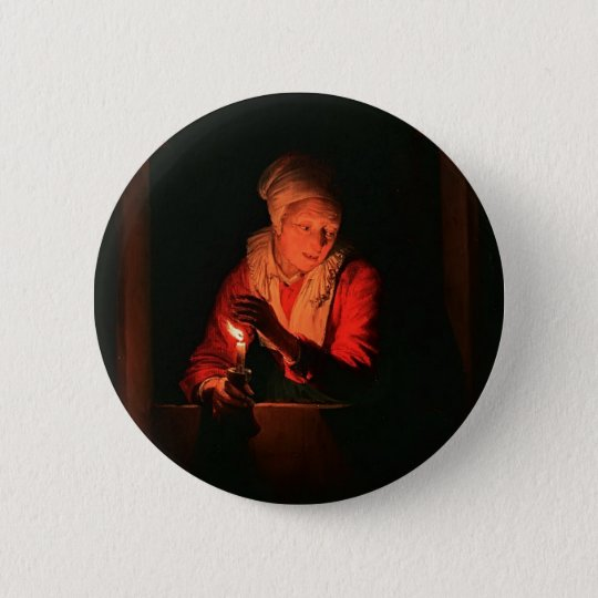 Old woman with a candle by Gerrit Dou Button
