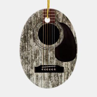 Old Wood Acoustic Guitar Ceramic Ornament