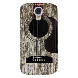 Old Wood Acoustic Guitar Galaxy S4 Case