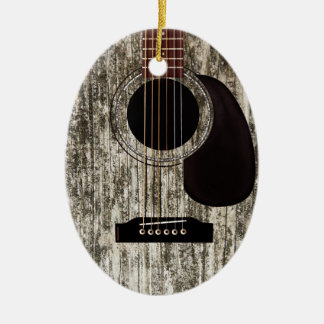 Old Wood Acoustic Guitar Double-Sided Oval Ceramic Christmas Ornament