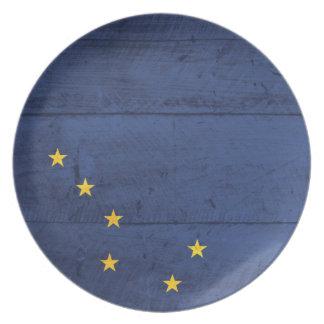 Old Wood Alaska Flag Plate