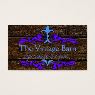 Old Wood and Blue Florish Business Card