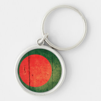 Old Wood Bangladesh Flag Silver-Colored Round Keychain