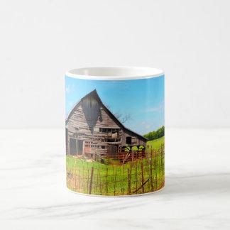 old wood barn coffee mug
