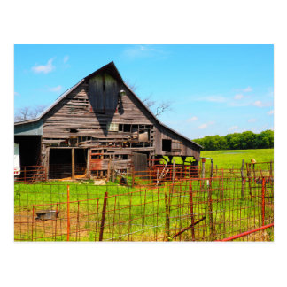 old wood barn postcard