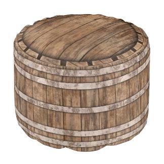 Old Wood Barrel Pouf