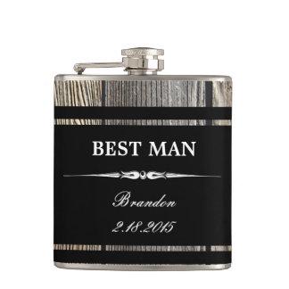 Old Wood Black BEST MAN Wedding Flask Hip Flasks