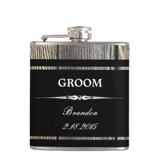 Old Wood Black GROOM Wedding Flask