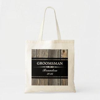 Old Wood Black GROOMSMAN Wedding Tote Bag
