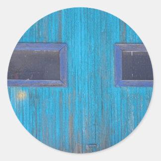 Old Wood Blue Garage Door Classic Round Sticker
