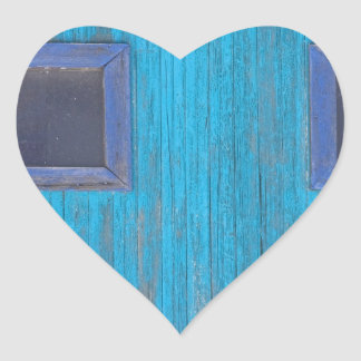 Old Wood Blue Garage Door Heart Sticker