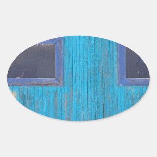 Old Wood Blue Garage Door Oval Sticker