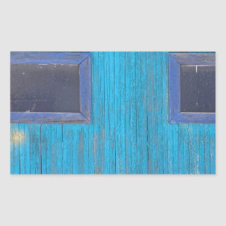 Old Wood Blue Garage Door Rectangular Sticker